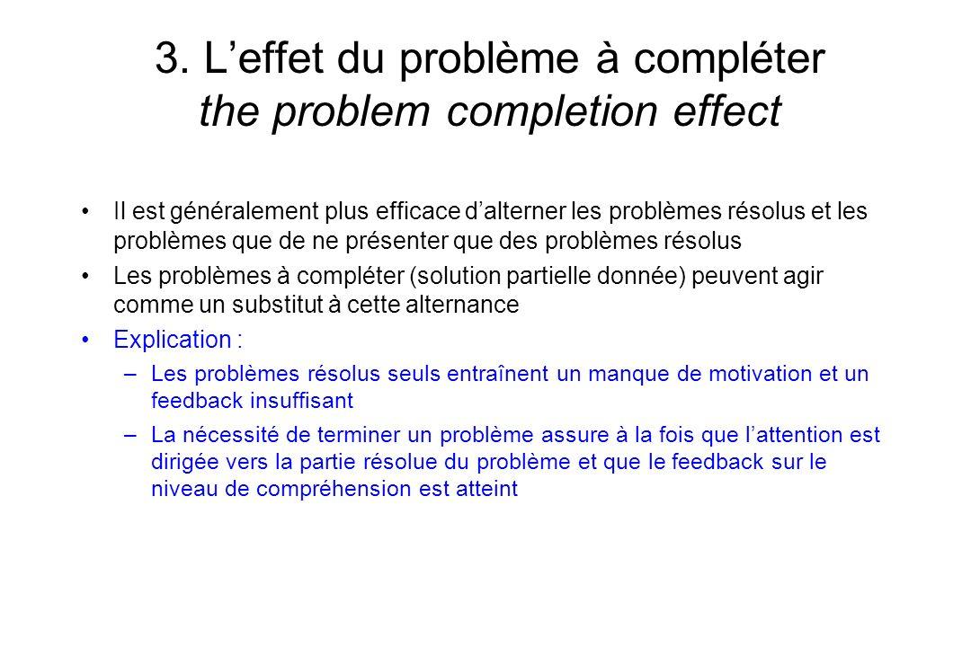 3. Leffet du problème à compléter the problem completion effect Il est généralement plus efficace dalterner les problèmes résolus et les problèmes que