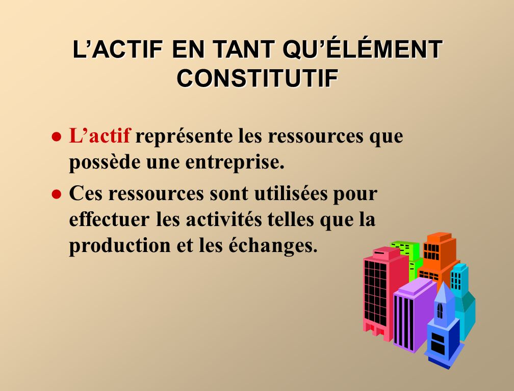 LACTIF EN TANT QUÉLÉMENT CONSTITUTIF Lactif représente les ressources que possède une entreprise. Ces ressources sont utilisées pour effectuer les act