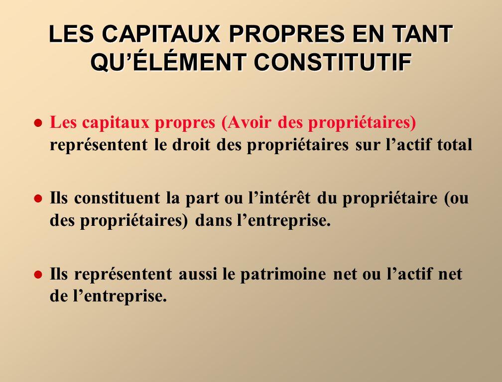 Les capitaux propres (Avoir des propriétaires) représentent le droit des propriétaires sur lactif total Ils constituent la part ou lintérêt du proprié