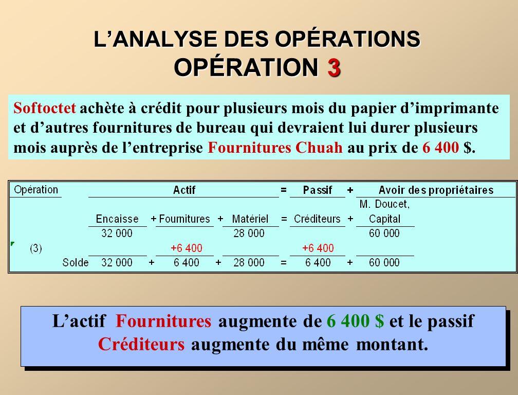 LANALYSE DES OPÉRATIONS OPÉRATION 3 Softoctet achète à crédit pour plusieurs mois du papier dimprimante et dautres fournitures de bureau qui devraient