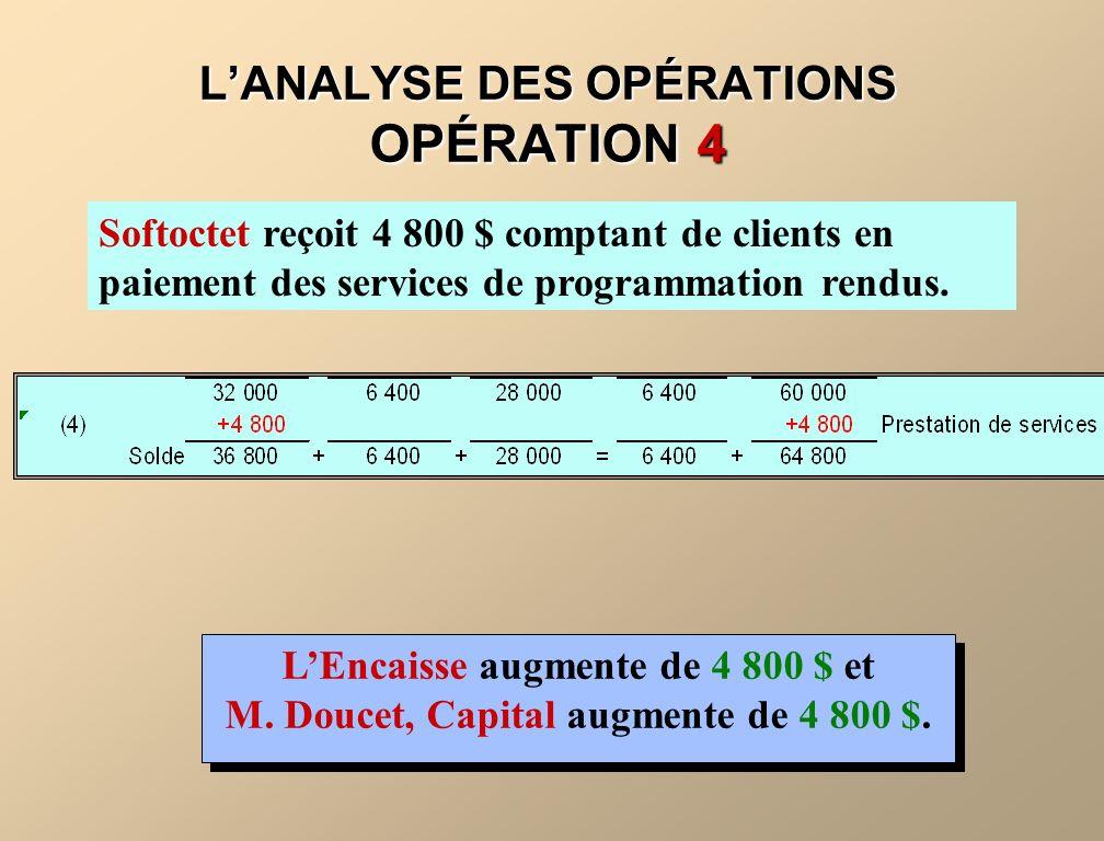LANALYSE DES OPÉRATIONS OPÉRATION 4 Softoctet reçoit 4 800 $ comptant de clients en paiement des services de programmation rendus. LEncaisse augmente