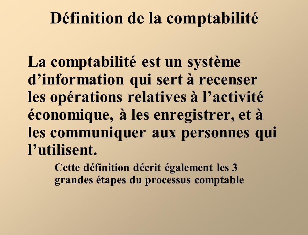 Définition de la comptabilité La comptabilité est un système dinformation qui sert à recenser les opérations relatives à lactivité économique, à les e