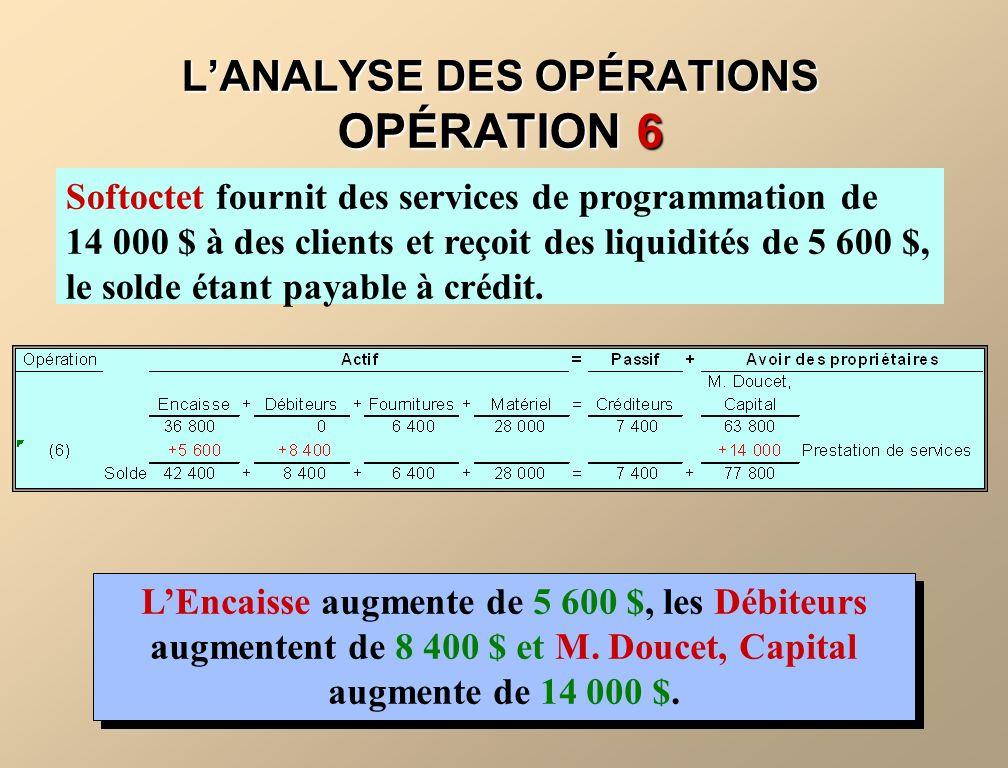 LANALYSE DES OPÉRATIONS OPÉRATION 6 Softoctet fournit des services de programmation de 14 000 $ à des clients et reçoit des liquidités de 5 600 $, le