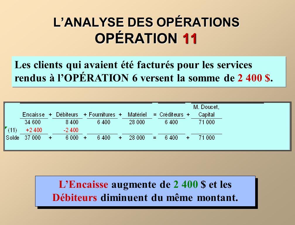 LANALYSE DES OPÉRATIONS OPÉRATION 11 Les clients qui avaient été facturés pour les services rendus à lOPÉRATION 6 versent la somme de 2 400 $. LEncais
