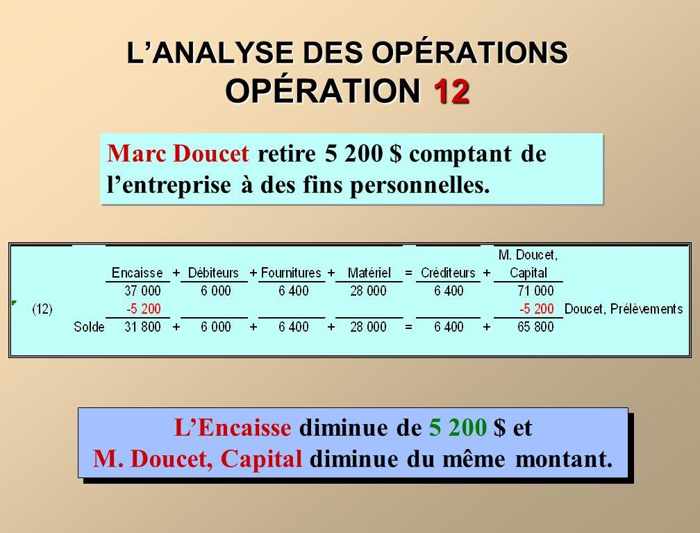 LANALYSE DES OPÉRATIONS OPÉRATION 12 Marc Doucet retire 5 200 $ comptant de lentreprise à des fins personnelles. LEncaisse diminue de 5 200 $ et M. Do