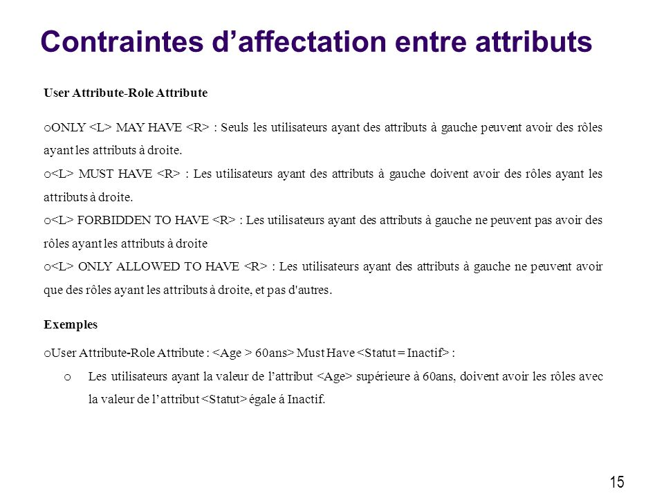 Contraintes daffectation entre attributs 15 User Attribute-Role Attribute o ONLY MAY HAVE : Seuls les utilisateurs ayant des attributs à gauche peuvent avoir des rôles ayant les attributs à droite.