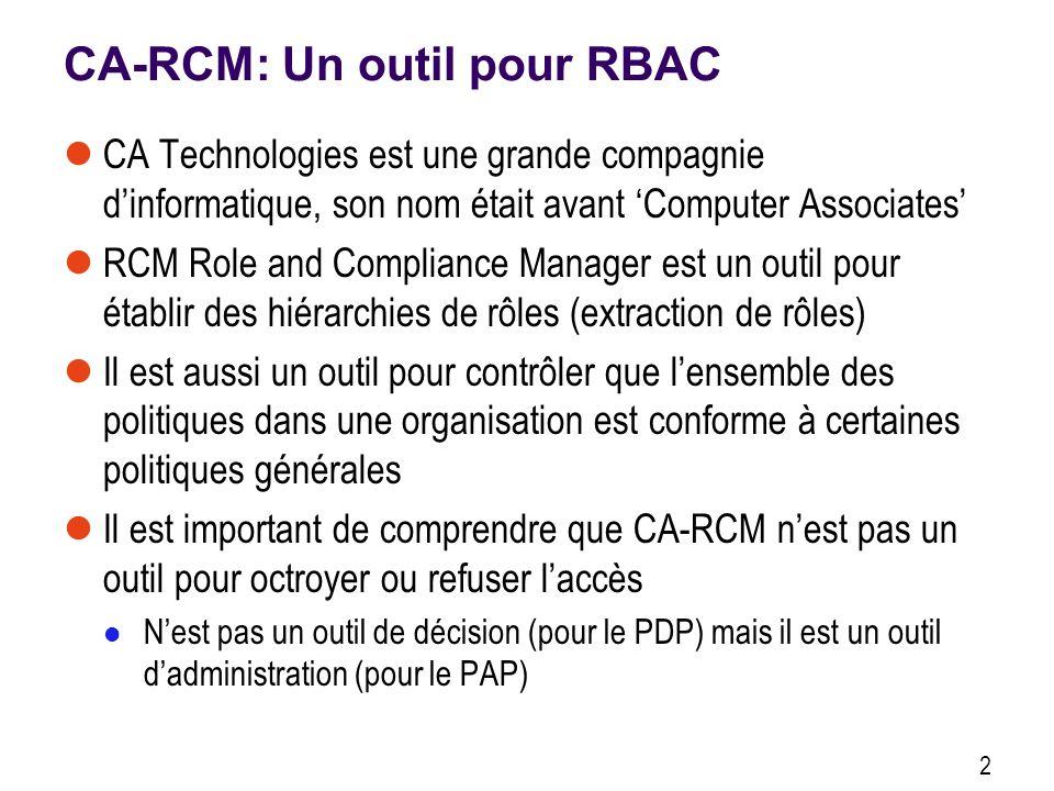 CA-RCM: Un outil pour RBAC CA Technologies est une grande compagnie dinformatique, son nom était avant Computer Associates RCM Role and Compliance Manager est un outil pour établir des hiérarchies de rôles (extraction de rôles) Il est aussi un outil pour contrôler que lensemble des politiques dans une organisation est conforme à certaines politiques générales Il est important de comprendre que CA-RCM nest pas un outil pour octroyer ou refuser laccès Nest pas un outil de décision (pour le PDP) mais il est un outil dadministration (pour le PAP) 2