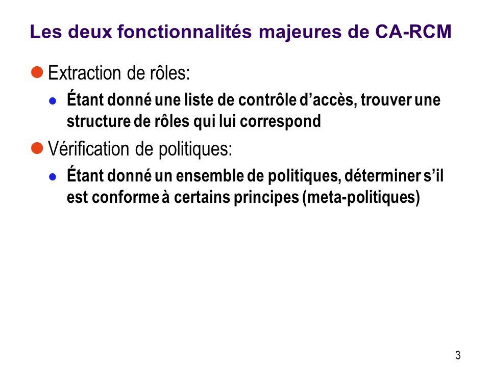 Les deux fonctionnalités majeures de CA-RCM Extraction de rôles: Étant donné une liste de contrôle daccès, trouver une structure de rôles qui lui correspond Vérification de politiques: Étant donné un ensemble de politiques, déterminer sil est conforme à certains principes (meta-politiques) 3