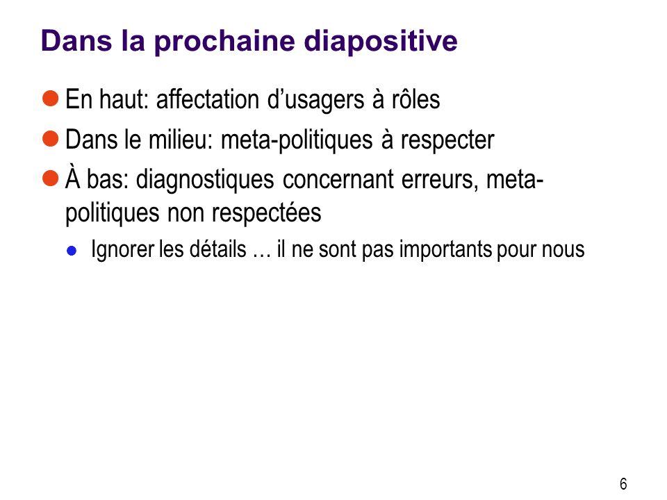 Dans la prochaine diapositive En haut: affectation dusagers à rôles Dans le milieu: meta-politiques à respecter À bas: diagnostiques concernant erreur