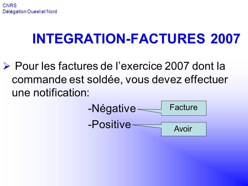 INTEGRATION-FACTURES 2007 Pour les factures de lexercice 2007 dont la commande est soldée, vous devez effectuer une notification: -Négative -Positive