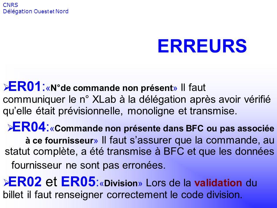 ERREURS ER01: «N°de commande non présent» Il faut communiquer le n° XLab à la délégation après avoir vérifié quelle était prévisionnelle, monoligne et