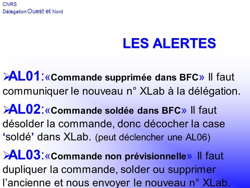 AL01: « Commande supprimée dans BFC » Il faut communiquer le nouveau n° XLab à la délégation. AL02: « Commande soldée dans BFC » Il faut désolder la c