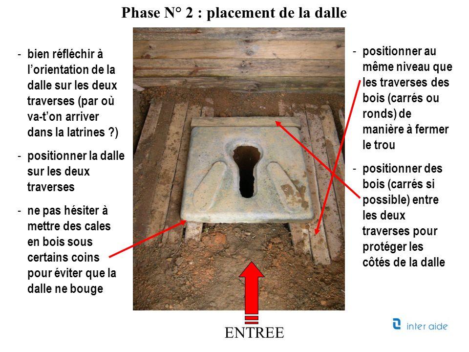 - bien réfléchir à lorientation de la dalle sur les deux traverses (par où va-ton arriver dans la latrines ?) - positionner la dalle sur les deux trav