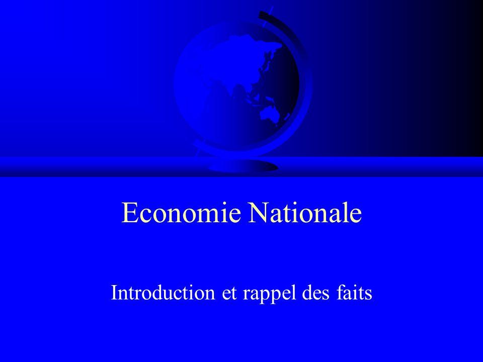 Economie Nationale Introduction et rappel des faits