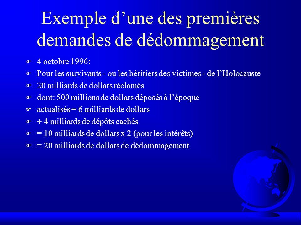 Exemple dune des premières demandes de dédommagement F 4 octobre 1996: F Pour les survivants - ou les héritiers des victimes - de lHolocauste F 20 mil