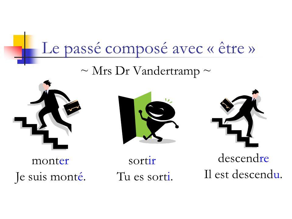 ~ Mrs Dr Vandertramp ~ Le passé composé avec « être » Je suis monté. montersortir Tu es sorti. descendre Il est descendu.