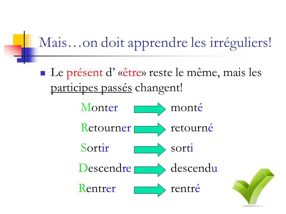 Mais…on doit apprendre les irréguliers! Le présent d «être» reste le même, mais les participes passés changent! Montermonté Retournerretourné Sortirso
