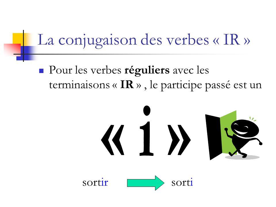 La conjugaison des verbes « IR » Pour les verbes réguliers avec les terminaisons « IR », le participe passé est un sortirsorti