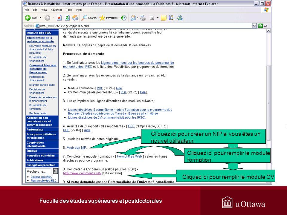 Faculté des études supérieures et postdoctorales Cliquez ici pour créer un NIP si vous êtes un nouvel utilisateur.