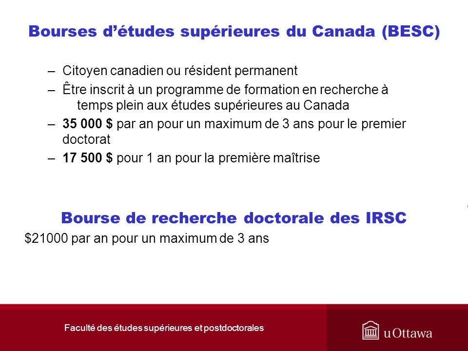Faculté des études supérieures et postdoctorales Bourses détudes supérieures du Canada (BESC) –Citoyen canadien ou résident permanent –Être inscrit à un programme de formation en recherche à temps plein aux études supérieures au Canada –35 000 $ par an pour un maximum de 3 ans pour le premier doctorat –17 500 $ pour 1 an pour la première maîtrise Bourse de recherche doctorale des IRSC $21000 par an pour un maximum de 3 ans