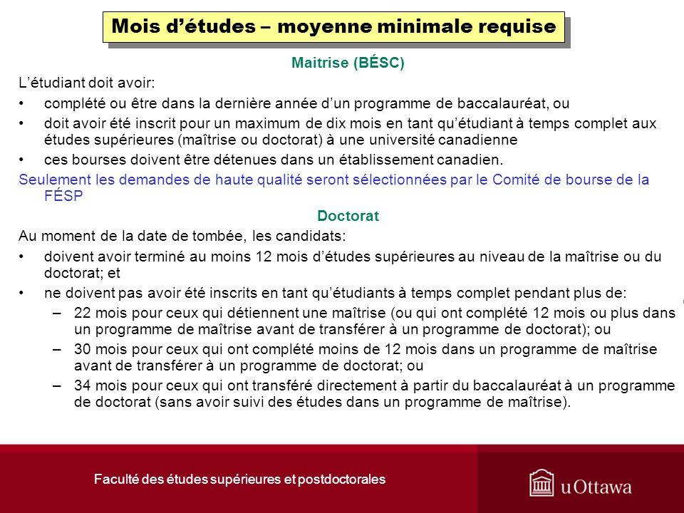 Faculté des études supérieures et postdoctorales Nouvel utilisateur.