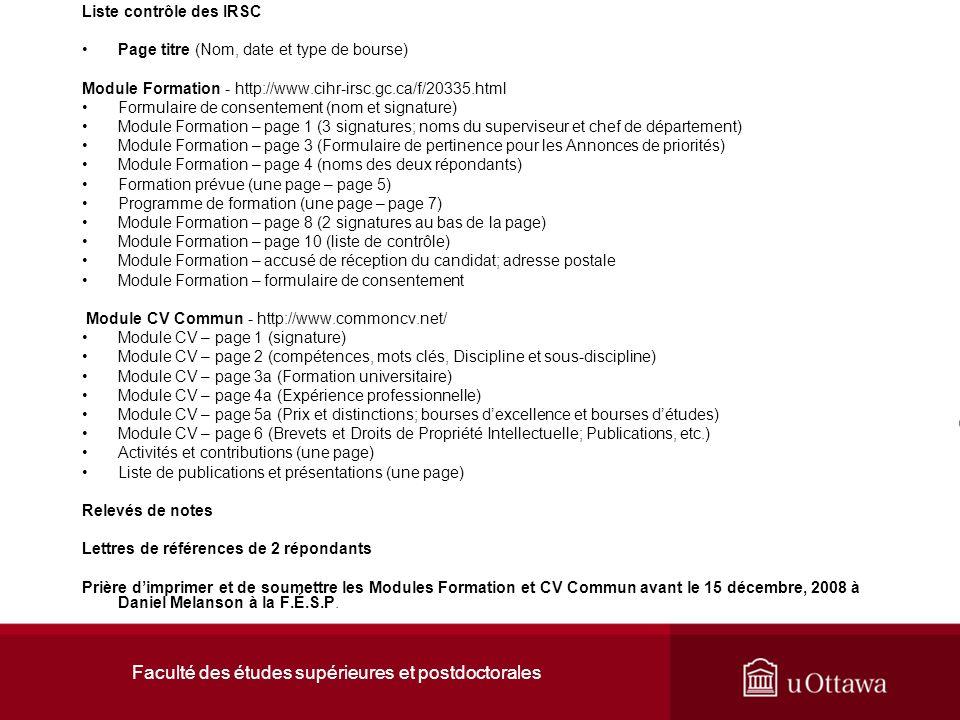 Faculté des études supérieures et postdoctorales Cliquez loption Possibilités de financement sur la page daccueil des IRSC.