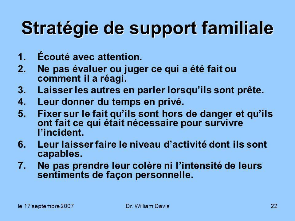 le 17 septembre 2007Dr. William Davis22 Stratégie de support familiale 1.Écouté avec attention.