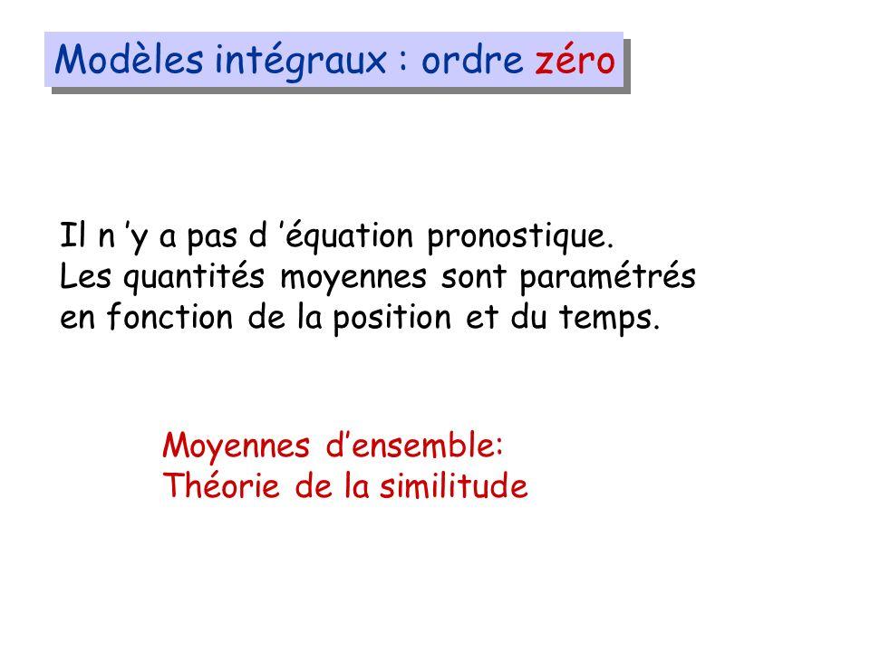 Modèles intégraux : ordre zéro Il n y a pas d équation pronostique.