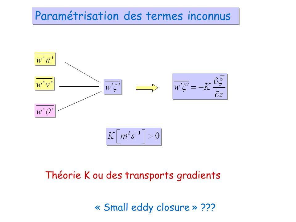 Paramétrisation des termes inconnus Théorie K ou des transports gradients « Small eddy closure » ???
