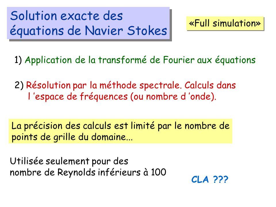 Solution exacte des équations de Navier Stokes Solution exacte des équations de Navier Stokes «Full simulation» 1) Application de la transformé de Fourier aux équations 2) Résolution par la méthode spectrale.