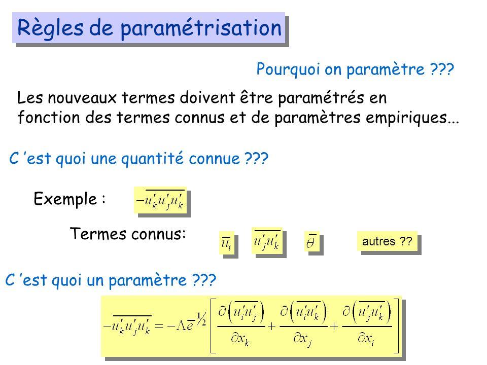 Règles de paramétrisation Les nouveaux termes doivent être paramétrés en fonction des termes connus et de paramètres empiriques...