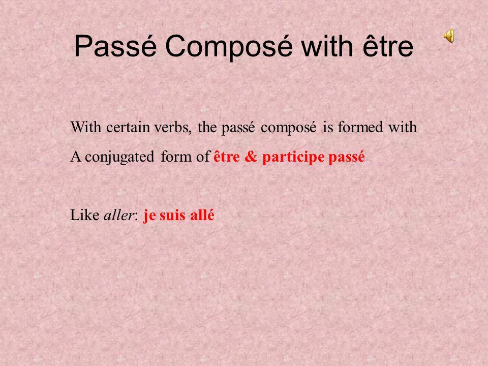 Passé Composé with être With certain verbs, the passé composé is formed with A conjugated form of être & participe passé Like aller: je suis allé