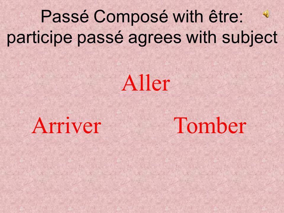 Passé Composé with être: participe passé agrees with subject Aller ArriverTomber