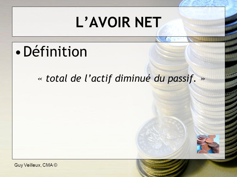 Guy Veilleux, CMA © LAVOIR NET Définition « total de lactif diminué du passif. »