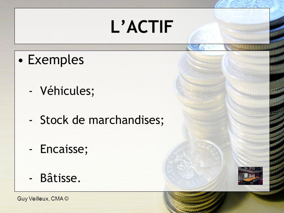 Guy Veilleux, CMA © LACTIF Exemples - Véhicules; - Stock de marchandises; - Encaisse; - Bâtisse.