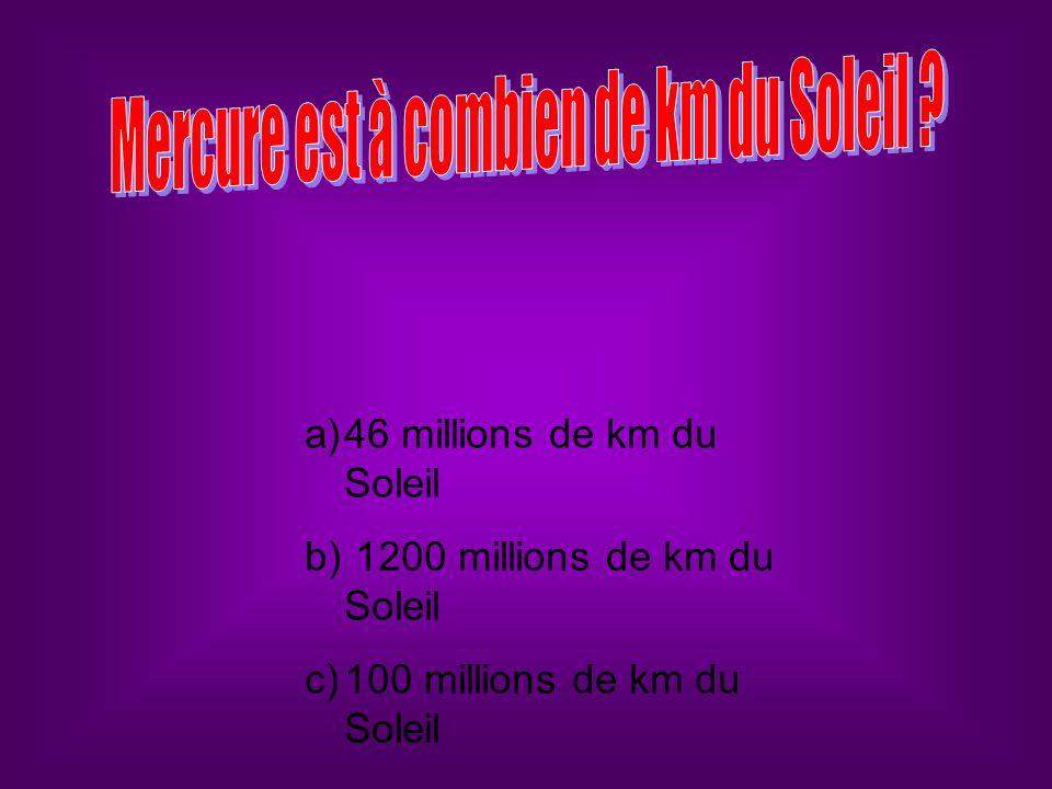 a)46 millions de km du Soleil b) 1200 millions de km du Soleil c)100 millions de km du Soleil
