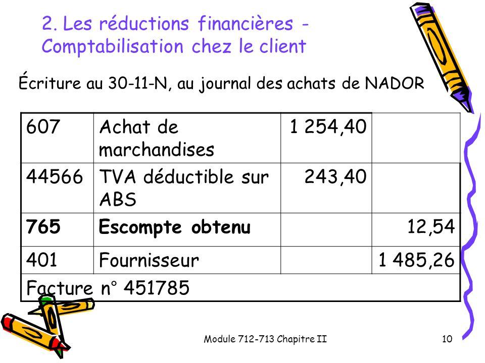 Module 712-713 Chapitre II10 2. Les réductions financières - Comptabilisation chez le client Écriture au 30-11-N, au journal des achats de NADOR 607Ac