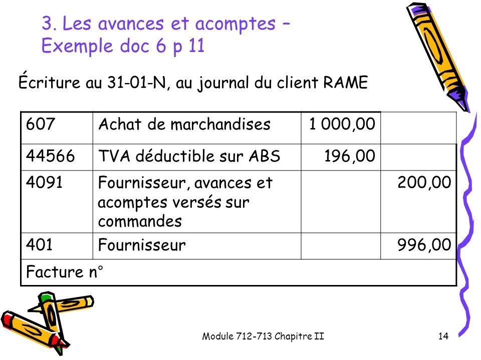 Module 712-713 Chapitre II14 3. Les avances et acomptes – Exemple doc 6 p 11 Écriture au 31-01-N, au journal du client RAME 607Achat de marchandises1