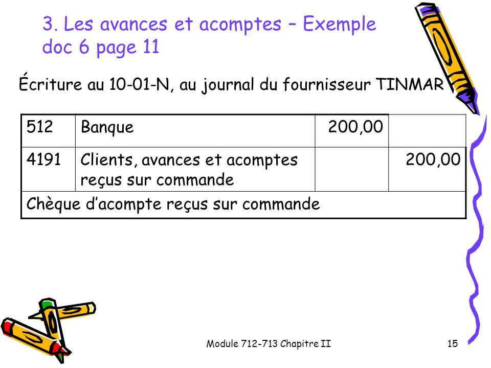 Module 712-713 Chapitre II15 3. Les avances et acomptes – Exemple doc 6 page 11 Écriture au 10-01-N, au journal du fournisseur TINMAR 512Banque200,00