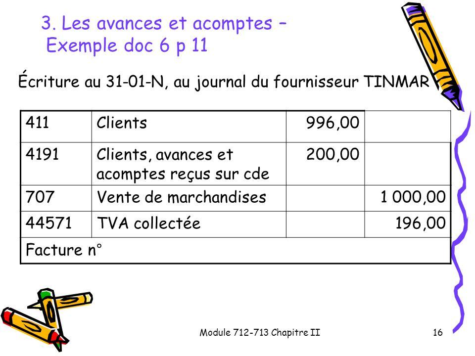 Module 712-713 Chapitre II16 3. Les avances et acomptes – Exemple doc 6 p 11 Écriture au 31-01-N, au journal du fournisseur TINMAR 411Clients996,00 41
