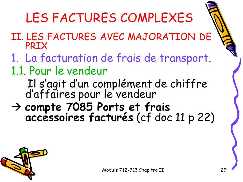 Module 712-713 Chapitre II29 LES FACTURES COMPLEXES II. LES FACTURES AVEC MAJORATION DE PRIX 1.La facturation de frais de transport. 1.1. Pour le vend