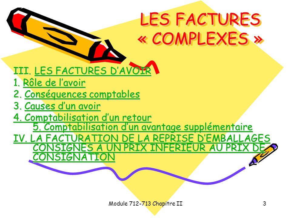 Module 712-713 Chapitre II3 LES FACTURES « COMPLEXES » III. LES FACTURES DAVOIR LES FACTURES DAVOIRLES FACTURES DAVOIR 1. Rôle de lavoir Rôle de lavoi