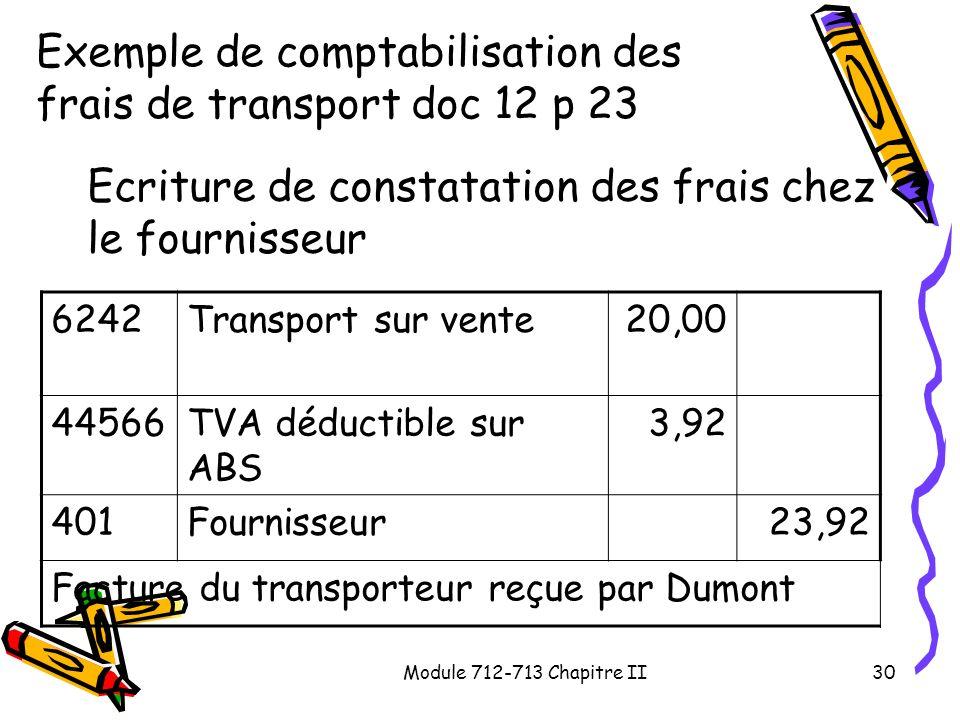 Module 712-713 Chapitre II30 Exemple de comptabilisation des frais de transport doc 12 p 23 Ecriture de constatation des frais chez le fournisseur 624