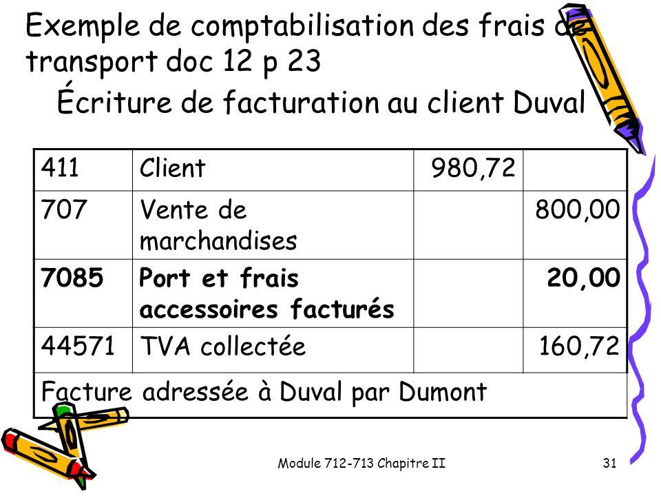 Module 712-713 Chapitre II31 Exemple de comptabilisation des frais de transport doc 12 p 23 Écriture de facturation au client Duval 411Client980,72 70