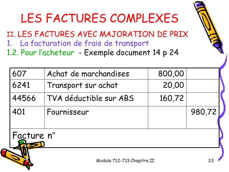 Module 712-713 Chapitre II33 LES FACTURES COMPLEXES II. LES FACTURES AVEC MAJORATION DE PRIX 1.La facturation de frais de transport 1.2. Pour lacheteu