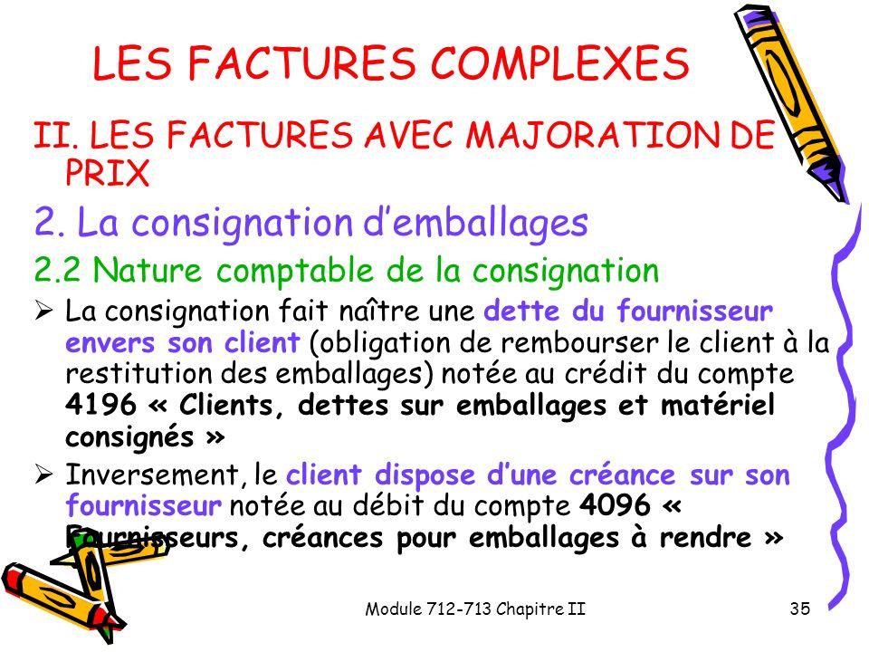 Module 712-713 Chapitre II35 LES FACTURES COMPLEXES II. LES FACTURES AVEC MAJORATION DE PRIX 2. La consignation demballages 2.2 Nature comptable de la