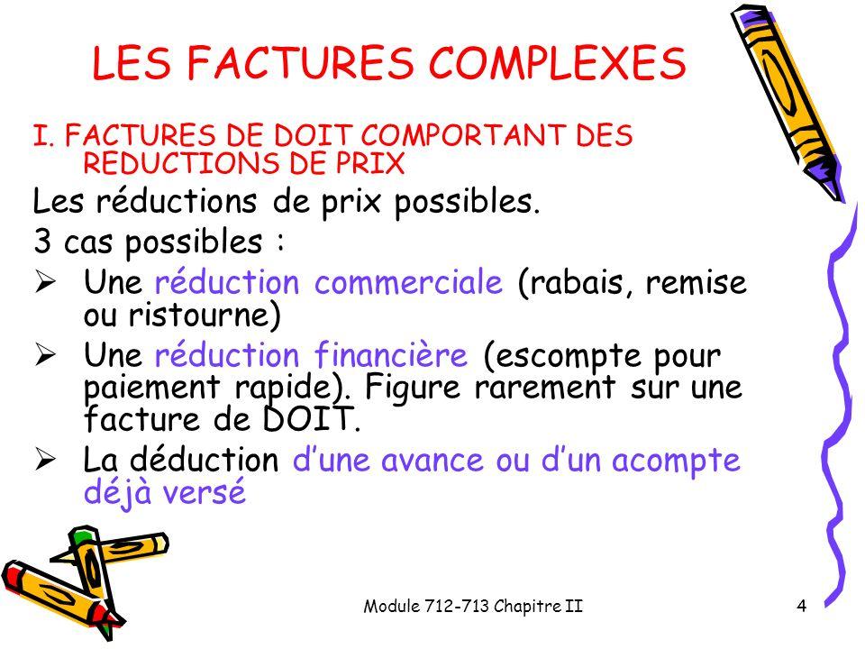 Module 712-713 Chapitre II4 LES FACTURES COMPLEXES I. FACTURES DE DOIT COMPORTANT DES REDUCTIONS DE PRIX Les réductions de prix possibles. 3 cas possi