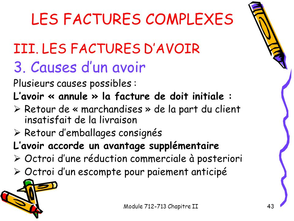 Module 712-713 Chapitre II43 LES FACTURES COMPLEXES III. LES FACTURES DAVOIR 3. Causes dun avoir Plusieurs causes possibles : Lavoir « annule » la fac
