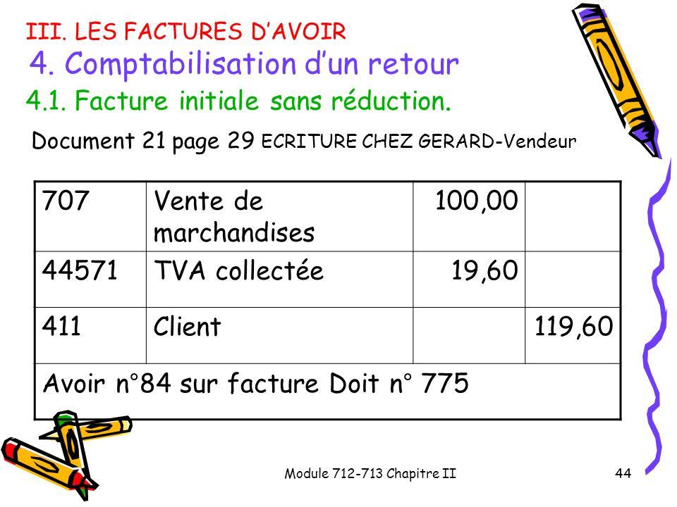 Module 712-713 Chapitre II44 III. LES FACTURES DAVOIR 4. Comptabilisation dun retour 4.1. Facture initiale sans réduction. Document 21 page 29 ECRITUR