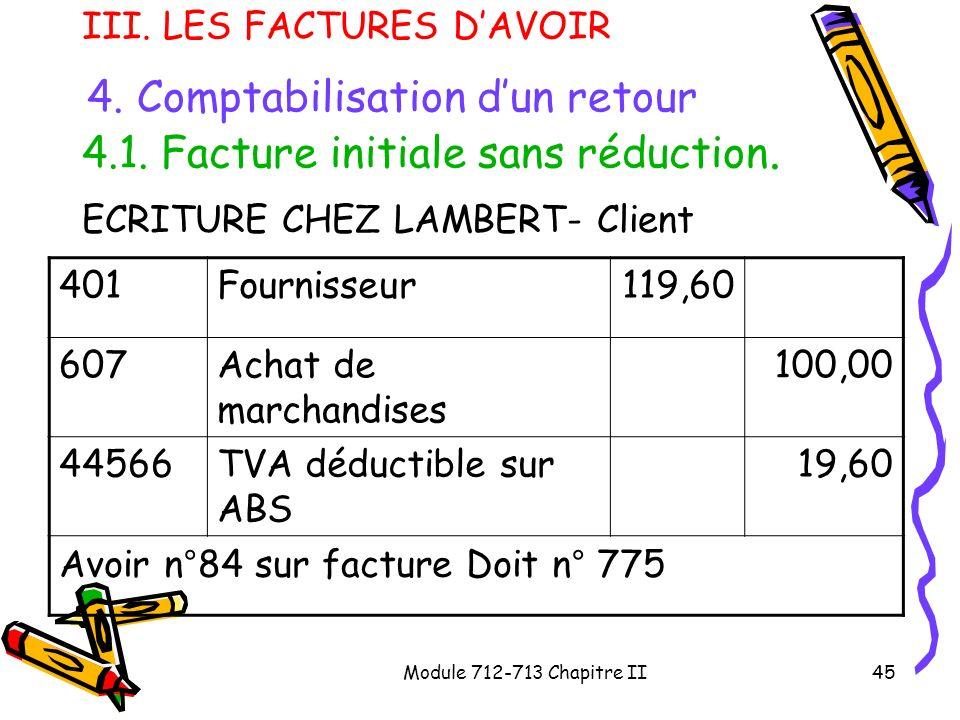 Module 712-713 Chapitre II45 III. LES FACTURES DAVOIR 4. Comptabilisation dun retour 4.1. Facture initiale sans réduction. ECRITURE CHEZ LAMBERT- Clie